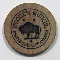 A wooden nickel from Willow Brook Farms. (Photo courtesy of Gwen Krawski Kosak)