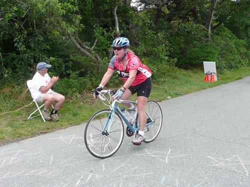 Interim Chief Jane Moran finishing the ride (contributed photo)