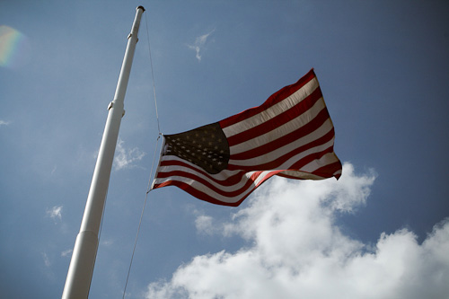 Post image for Flags in Southborough flying at half staff in honor of Colorado victims