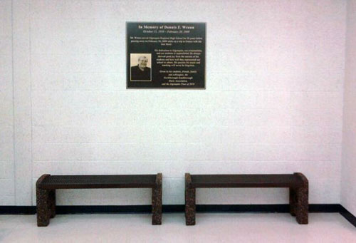 Post image for Benches and plaque dedicated to Dennis Wrenn