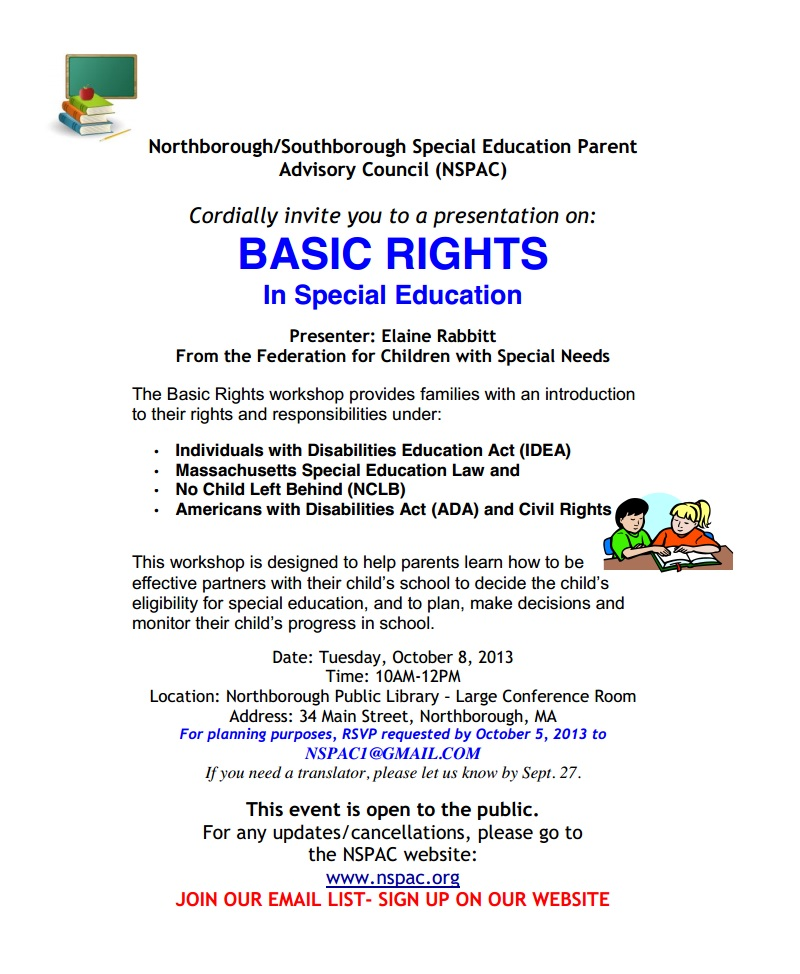 Basic Rights in Special Ed program, October 8