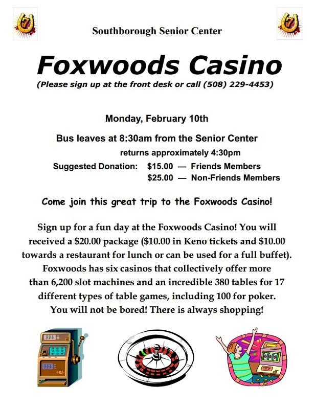Foxwood casino bus trips bingo and slot casino online