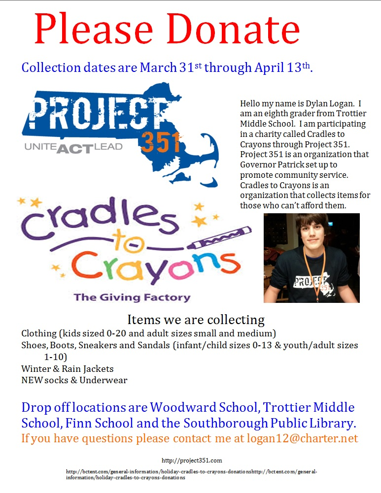Cradles to Crayons collection drive for essential clothing and