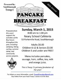 Troop 1 Pancake Breakfast flyer