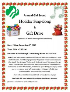 girl scout sing-a-long and gift drive flyer