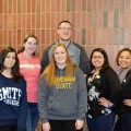 Alumni Hailey Escobar, Taylor Doonan, Tyler Charbonneau, Jennifer Casavant, Priscilla Aguilar and Melissa Duarte visit Assabet Valley to discuss their college experiences with current juniors and seniors.