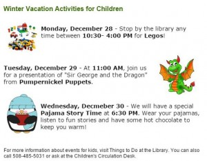 Children's activities at the library week of 12/28