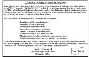 Alzheimer Training blurb from Senior Center Newsletter