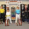 Victoria Lapidas (far right) with other competing students from The Karate School (Photo contributed)