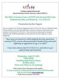 NSPAC flyer on PANDAS presentation