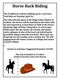 Senior Trailblazers' Horse Back Riding flyer