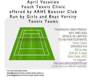 ARHS Boosters Tennis Clinic flyer
