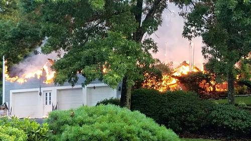 Post image for Fire consumes 2-story house; lightening likely to blame