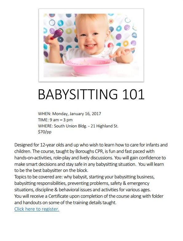 babysitting 101 for 12   sign up by tomorrow