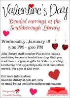 Valentine's Day earring workshop flyer