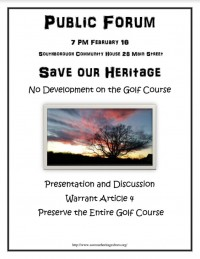 save our heritage flyer for Warrant Article 4 forum