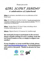 Girl Scout Sunday flyer