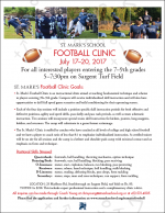 St Mark's Football clinic flyer