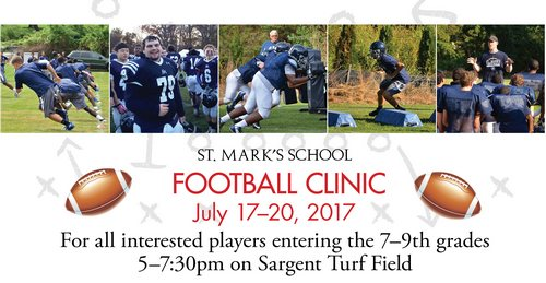 Post image for St. Mark's Football Clinic: 7th – 9th graders, July 17 – 20