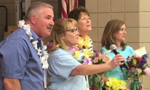 Post image for Aloha to retirees from Finn and Woodward schools: Principal Randell and teachers Daly & Donlon