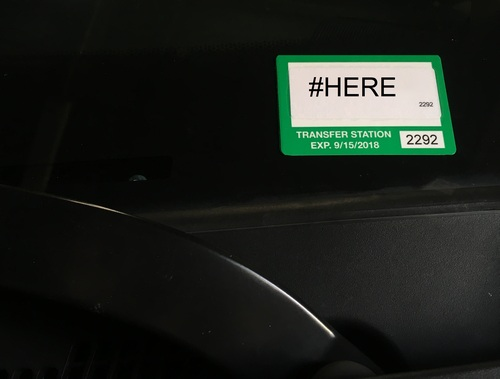 Post image for Did you get your new Transfer Station Permit? Stick it on by 10/15 (or stick with the bigger one)