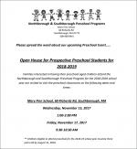 NS Preschool programs open house flyer