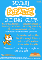March Scratch Coding Club flyer