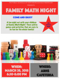 Family Math Night flyer