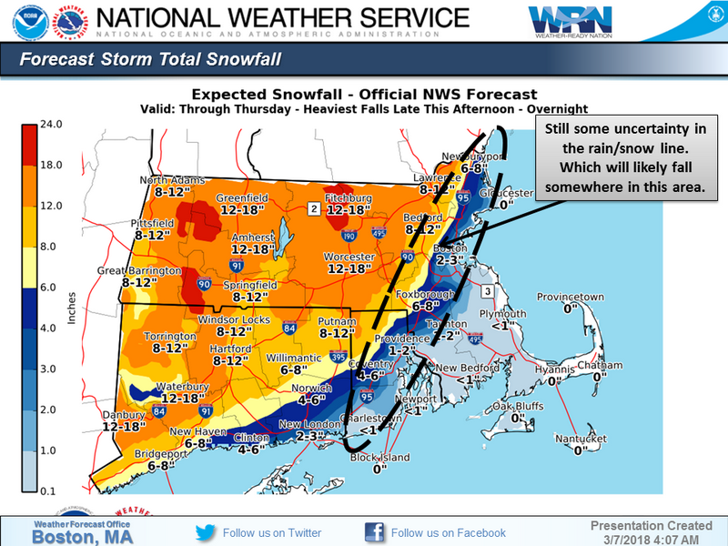 National Weather Service. snowfall March 7-8 2018