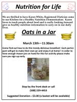 Senior Center's Oats in a Jar flyer