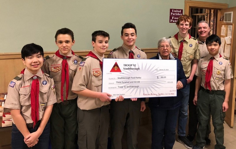 Troop 92 donation to Food Pantry