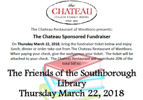 Post image for Friends of the Library fundraiser: 20% of Chateau bills from lunch/dinner on Thursday, March 22nd