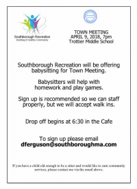 Town Meeting - babysitting Southboorugh Rec flyer