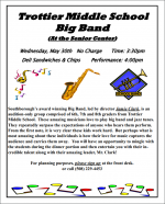 Trottier Big Band Senior Center concert flyer