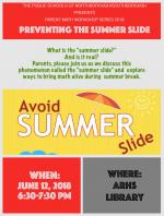 Avoid Summer Slide math series flyer