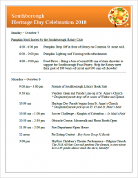 Southborough Heritage Day Celebration 2018 flyer