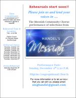 Handels Messiah rehearsal flyer