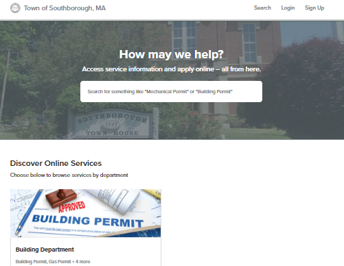 Post image for Southborough launches new online permitting portal