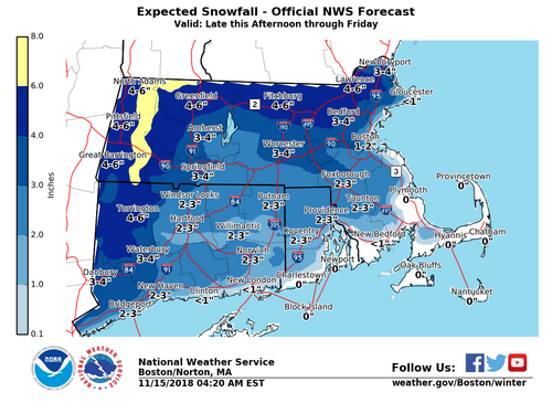 Post image for Snow forecast for evening commute with icing in the morning; potential flooding