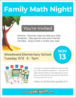 Family Math Night Nov 2018 flyer