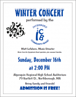 Winter Concert flyer for Interbor Community Band