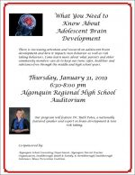 Adolescent Brain Development talk flyer