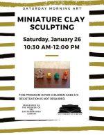 mini clay figures Saturday Drop in Art flyer