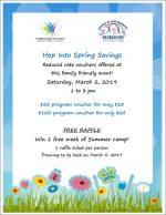 hop into spring savings flyer