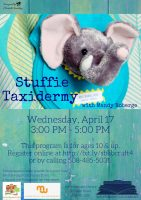 Stuffie Taxidermy library crafternoon flyer