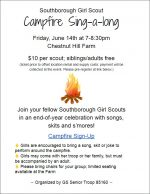 Girl Scout Campfire Sing-a-long flyer