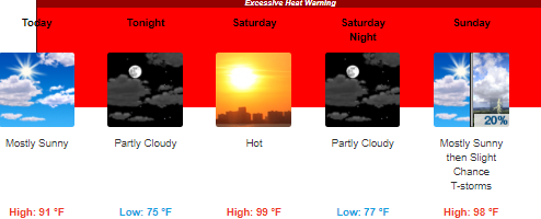 Post image for Excessive Heat Warning – today through Sunday: Heat index to reach 109°