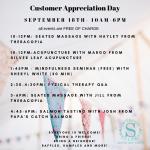 Customer Appreciation Day September 18th flyer