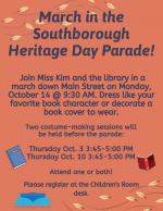 Heritage Day march for the Library flyer