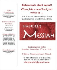 Handels Messiah - rehearsal flyer